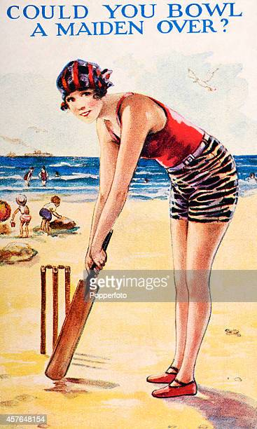 Saucy seaside postcard featuring a bathing beauty with a cricket bat at the beach, circa 1920.