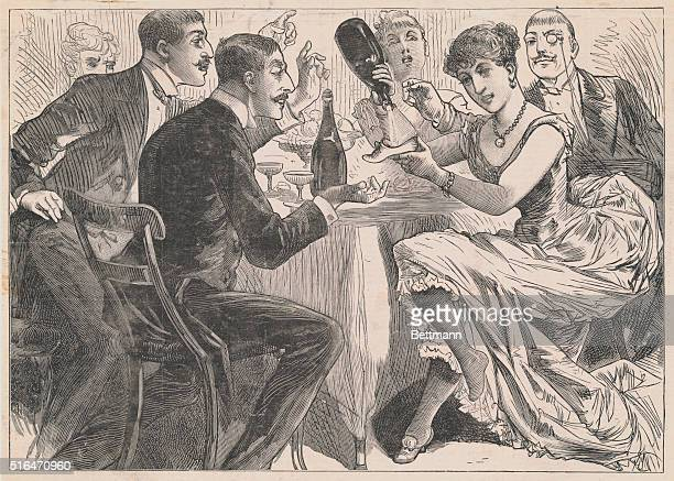 Saucy women serving champagne in their slippers to admiring gentlemen