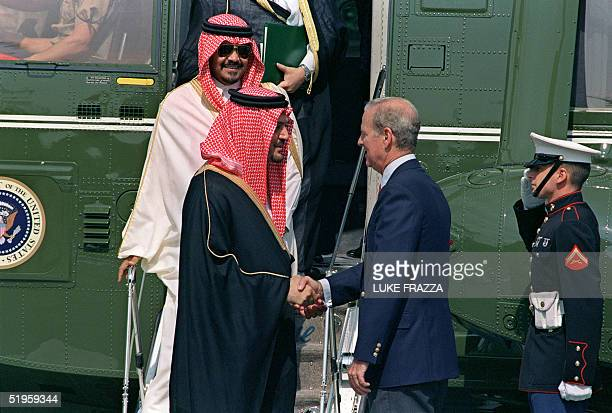 Saud alFaisal Crown Prince and Minister of Foreign Affairs of Saudi Arabia shakes hands 16 August 1990 in Kennebunkport with US Secretary of State...