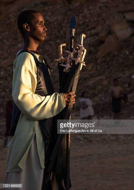 Saudi actor during an historical play in an open air theater in Madain Saleh, Al Madinah Province, Alula, Saudi Arabia on December 27, 2019 in Alula,...