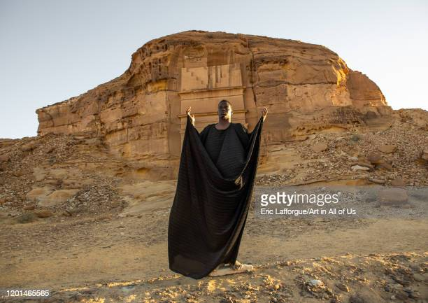 Saudi actor performing an historical play in an open air theater in Madain Saleh, Al Madinah Province, Alula, Saudi Arabia on December 27, 2019 in...