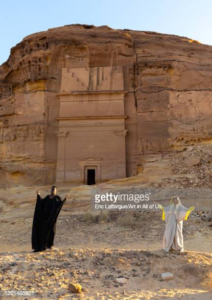 Saudi actors during an historical play in an open air theater in Madain Saleh, Al Madinah Province, Alula, Saudi Arabia on December 27, 2019 in...