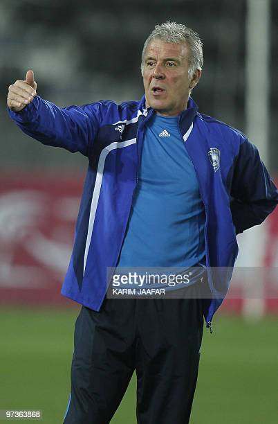 Saudi AlHilal football club's Belgian coach Eric Gerets attends a training session in Doha in preparation for his team's AFC Champions League match...