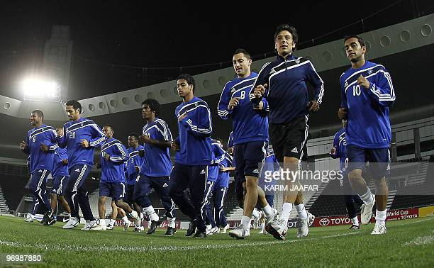 Saudi AlHilal football players attend a training session at the AlSadd stadium in Doha on February 23 2010 in preparation for their AFC Champions...
