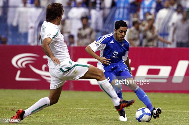 Saudi AlHilal's Abdulaziz alDosari challenges Iranian Zobahan's Seyed Mohammad Hosseini during their AFC Champions League semifinal football match in...