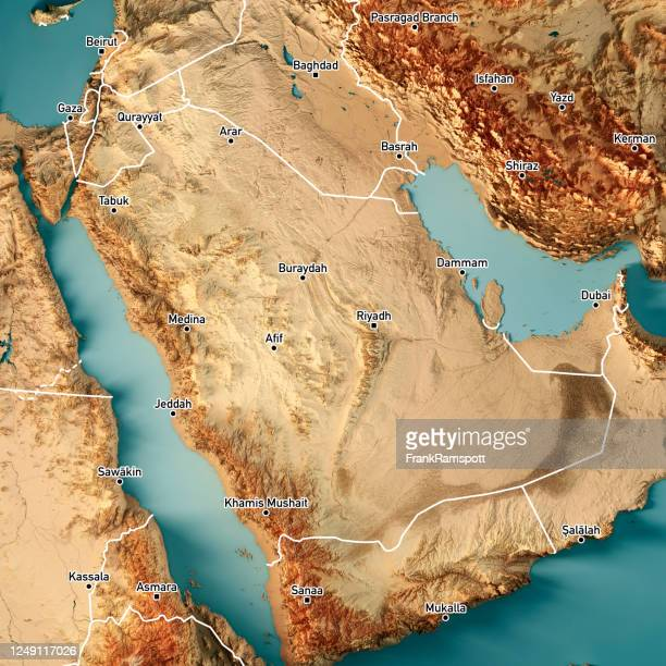 saudi arabia 3d render topographic map color border cities - frankramspott imagens e fotografias de stock
