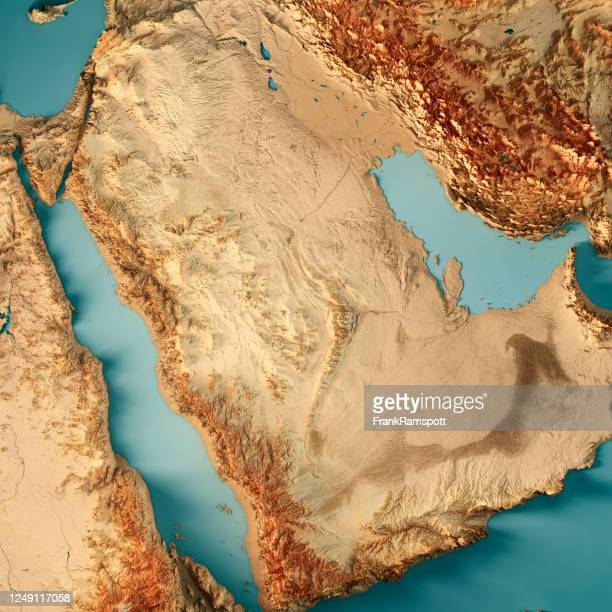 saudi arabia 3d render topographic map color - frank ramspott stock pictures, royalty-free photos & images