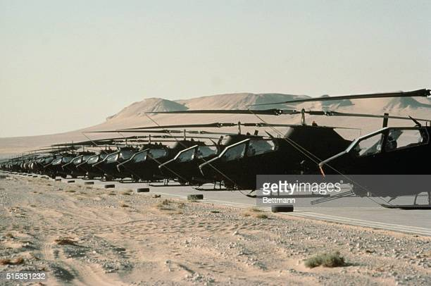 82nd aviation Brigade helicopters sit on an airfield in Saudi Arabia