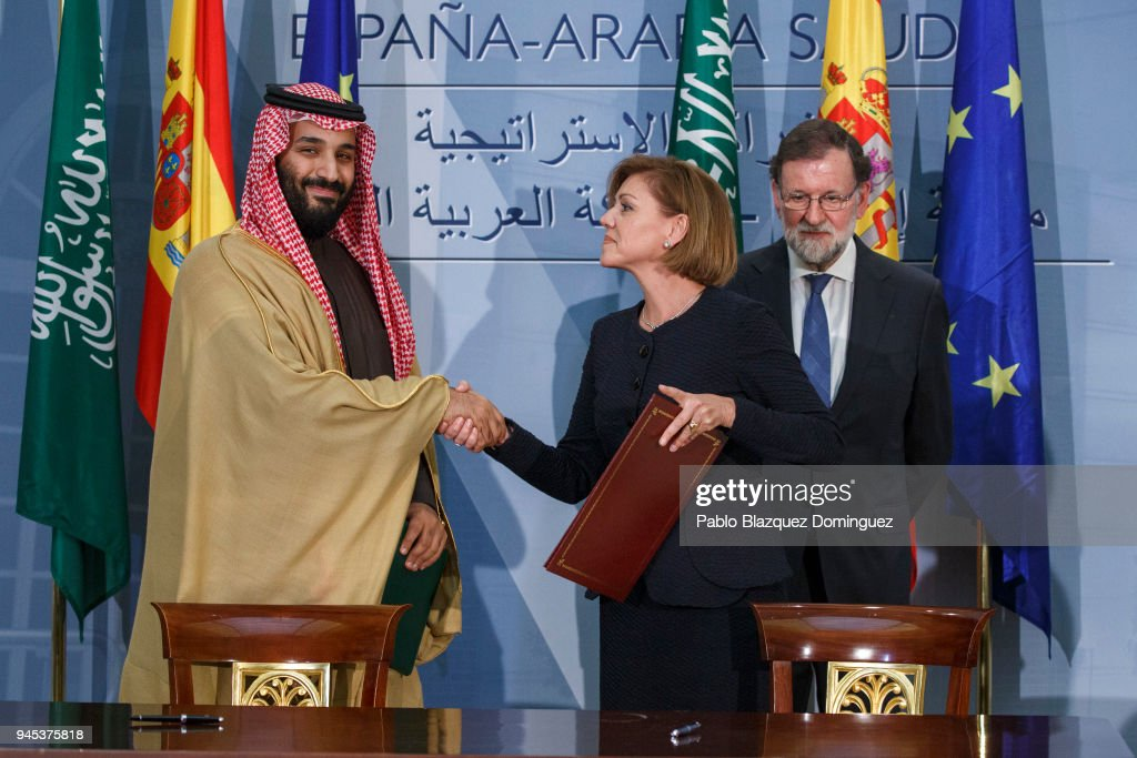 Spanish President Mariano Rajoy Receives Saudi Arabia Crown Prince Mohammed Bin Salman At Moncloa Palace