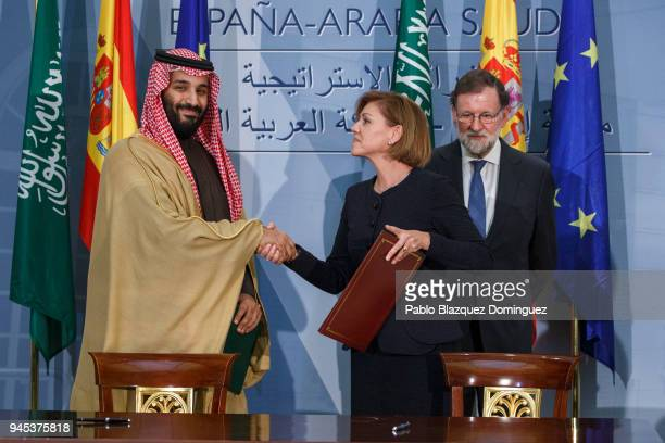 Saudi Arabia Crown Prince Mohammed bin Salman and Spanish Defence Minister Maria Dolores de Cospedal exchange signed documents as Spanish President...