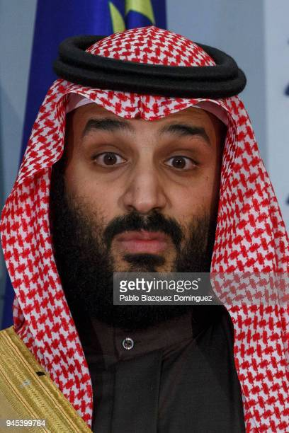 Saudi Arabia Crown Prince Mohammed bin Salman looks on during a ceremony at Moncloa Palace on April 12 2018 in Madrid Spain Bin Salman's visit to...