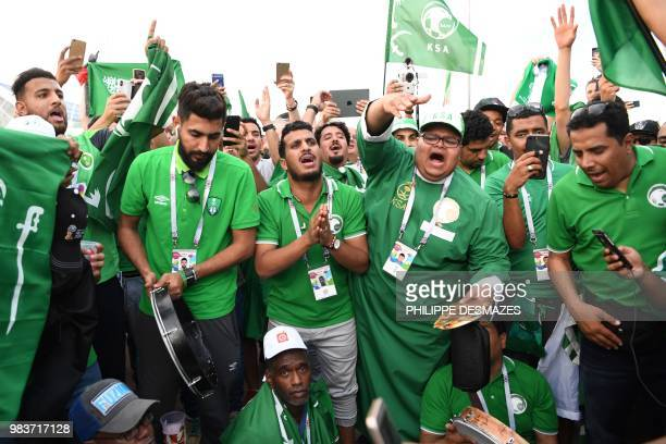 Saudi Arabia fans celebrate the team's win in the Russia 2018 World Cup Group A football match between Saudi Arabia and Egypt at the Volgograd Arena...