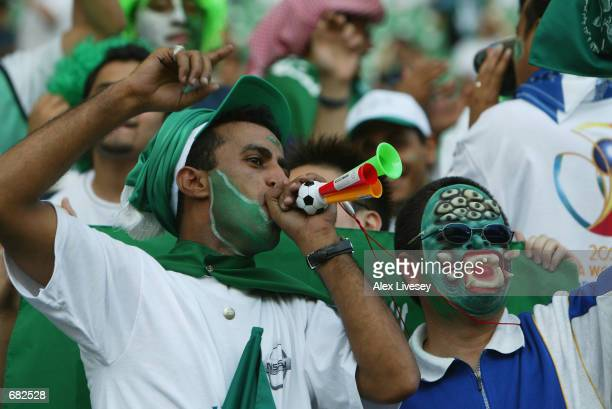 Saudi Arabia fans during the FIFA World Cup Finals 2002 Group E match between Cameroon and Saudi Arabia played at the Saitama Stadium, in...