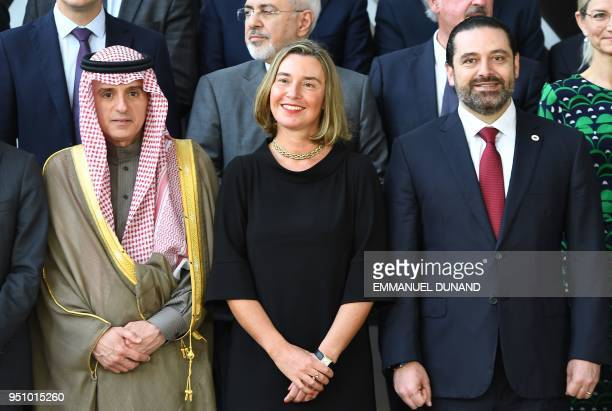Saudi Arabia Foreign Minister Adel Bin Ahmed AlJubeir European Union Foreign policy chief Federica Mogherini and Lebanon's Prime Minister Saad Hariri...