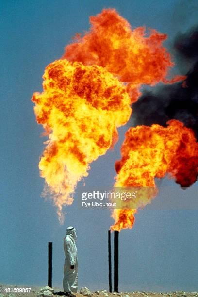 Saudi Arabia General Burning off gas at oil well