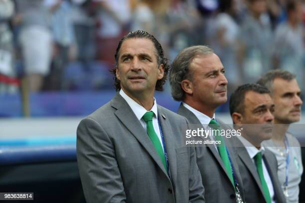 Saudi Arabia head coach Juan Antonio Pizzi stands on the touchline prior to the start of the FIFA World Cup 2018 Group A soccer match between Saudi...