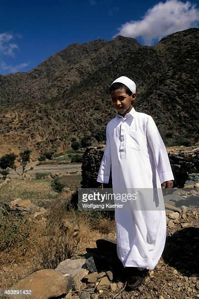 Saudi Arabia Near Abha Wadi Al Aws Local Boy