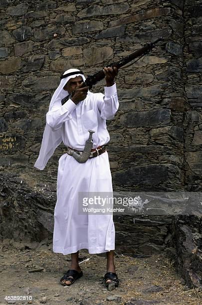 Saudi Arabia Near Abha Wadi Al Aws Rijal Alma Museum Local Man With Old Rifle