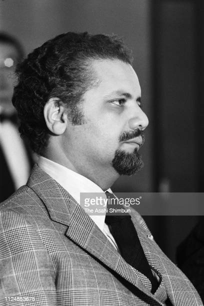 Saudi Arabia Petroleum and Mineral Resources Minister Ahmed Zaki Yamani attends a press conference on January 28 1974 in Tokyo Japan