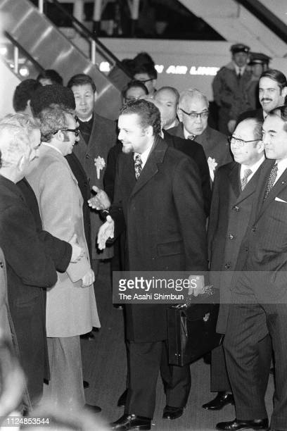 Saudi Arabia Petroleum and Mineral Resources Minister Ahmed Zaki Yamani is seen on arrival at Haneda Airport on January 26 1974 in Tokyo Japan