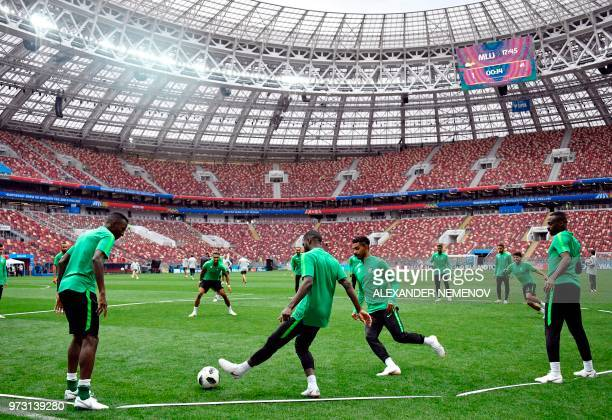 Saudi Arabia players attend a training session at the Luzhniki stadium in Moscow on June 13 2018 ahead of the Russia 2018 World Cup football...