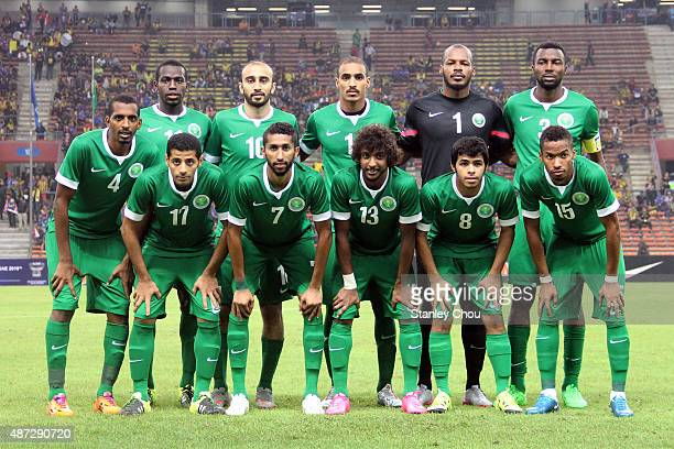 Saudi Arabia poses prior to kick off during the 2018 Russia FIFA World Cup and 2019 UAE Asian Cup Preliminary Round 2 joint qualifying match between...