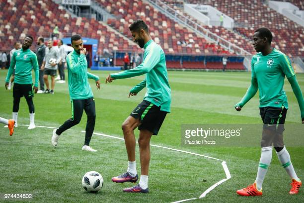 Saudi Arabia selection during official training before the opening match of the 2018 FIFA World Cup between Russia and Saudi Arabia at Lujniki Stadium