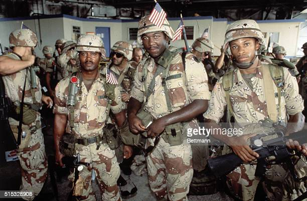 Soldiers of the 24th Infantry prepare to leave to Saudi Arabia in support of Operation Desert Shield