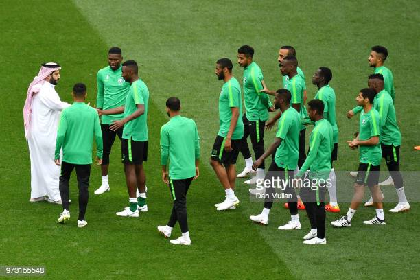 Saudi Arabia Sports Minister Turki alSheikh greets players during a Saudi Arabia training session ahead of the 2018 FIFA World Cup opening match...