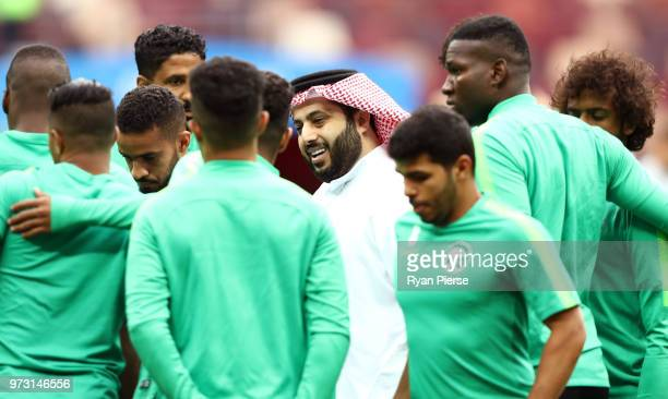 Saudi Arabia Sports Minister Turki alSheikh talks to players during a Saudi Arabia training session ahead of the 2018 FIFA World Cup opening match...