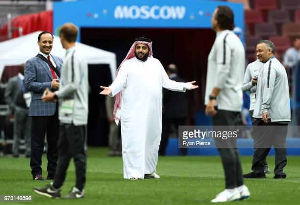 Saudi Arabia Sports Minister Turki alSheikh walks on the pitch during a Saudi Arabia training session ahead of the 2018 FIFA World Cup opening match...