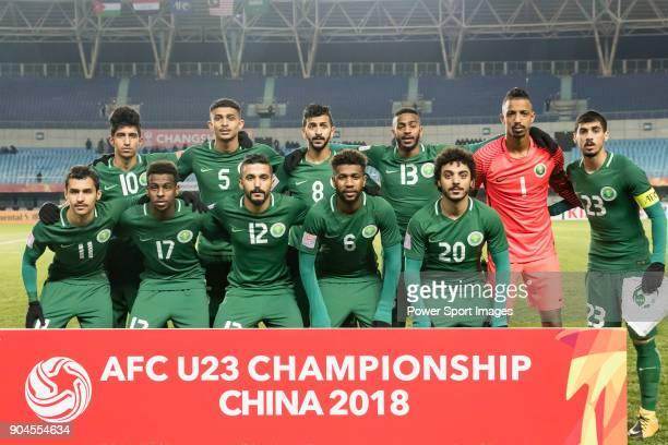 Saudi Arabia squad poses for photos prior to the AFC U23 Championship China 2018 Group C match between Jordan and Saudi Arabia at Changshu Sports...