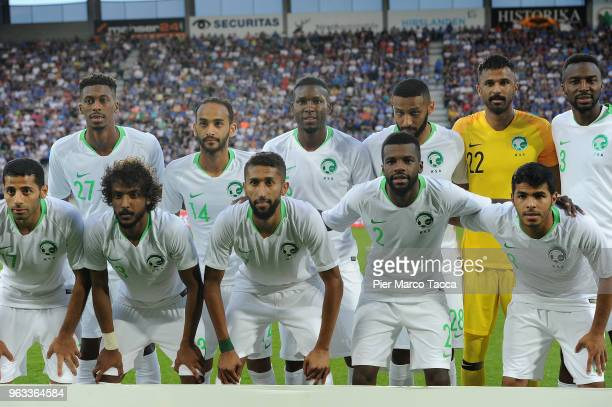 Saudi Arabia team poses during the International Friendly match between Saudi Arabia and Italy on May 28 2018 in St Gallen Switzerland
