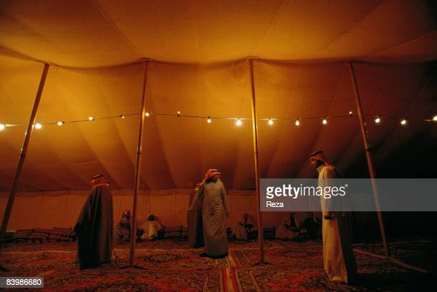 Saudi Arabia Umm Ruqaybah 150 km south of Hafar al Batin approximately 400 km north of Riyadh near the border of Iraq A group of Bedouins praying in...