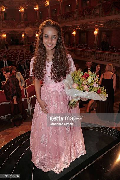 Saudi Arabian actress and award winner Waad Mohammed poses after the Bernhard Wicki Award ceremony at Munich Film Fesitval on July 4 2013 in Munich...