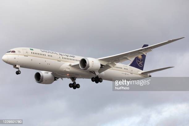 Saudi Arabian Airlines Boeing 787 lands at London Heathrow Airport on 28th October 2020