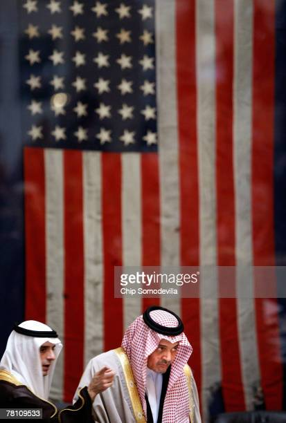 Saudi Arabian ambassador to the United States Adel alJubeir talks with Saudi Arabian Foreign Affairs Minister Saud AlFaisal during the opening...