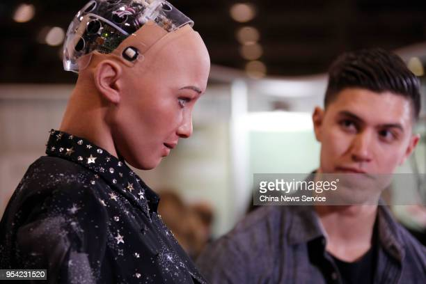 Saudi Arabian citizen Humanoid Robot Sophia is seen during the Discovery exhibition on April 30 2018 in Toronto Canada