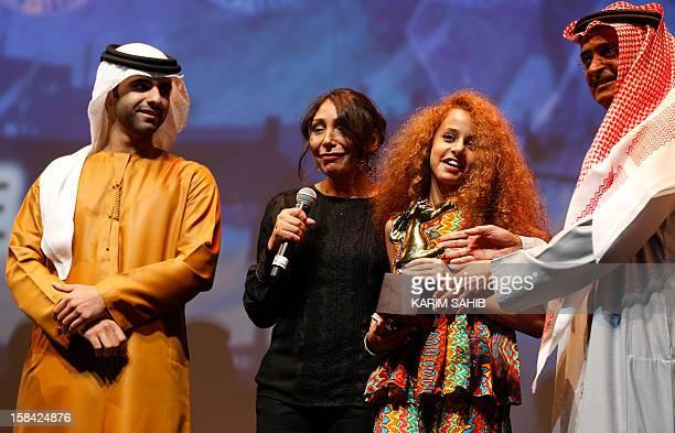 Saudi Arabian director Haifaa AlMansour and Saudi Actress Waad Mohammed are presented by Sheikh Mansour son of Dubai ruler Sheikh Mohammed bin Rashid...