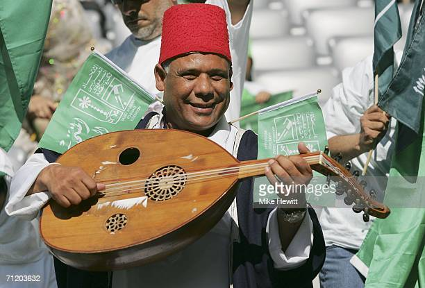 Saudi Arabian fan enjoys the atmosphere prior to kick off during the FIFA World Cup Germany 2006 Group H match between Tunisia and Saudi Arabia at...