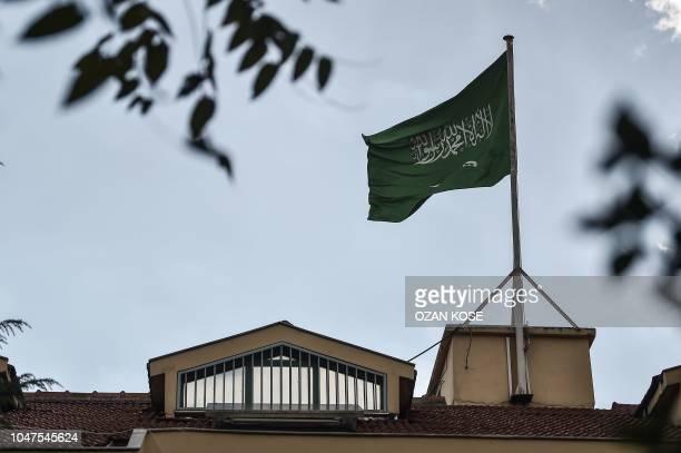 A Saudi Arabian flag flies at the Saudi Arabian consulate in Istanbul on October 8 2018 Jamal Khashoggi a veteran Saudi journalist who has been...