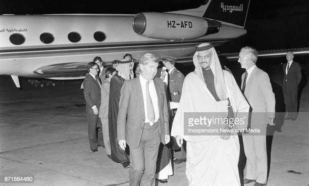 Saudi Arabian Foreign Affairs Minister His Royal Highness Prince Saud Al Faisal arrived in Dublin Airport for an offical visit circa November 1983