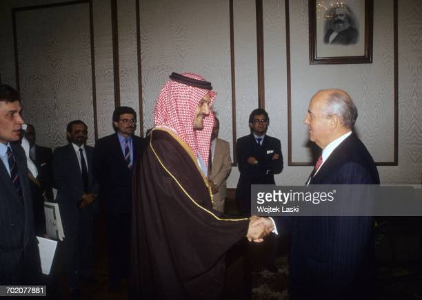 Saudi Arabian Foreign Minister Prince Saud alFaisal and President of the Soviet Union Mikhail Gorbachev during a meeting in Moscow Russia on 17th...