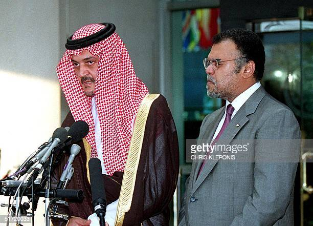 Saudi Arabian Foreign Minister Saud alFaisal speaks during a press conference following his meeting with US Secretary of State Colin Powell 19...