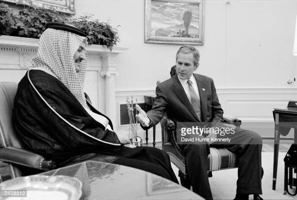 Saudi Arabian Foreign Minister Saud alFaisel meets with US President George W Bush at the White House September 20 2001 in Washington DC days after...