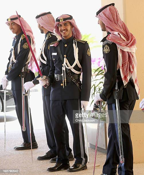 Saudi Arabian Honour Guard soldiers look on at the headquarters of the National Guard on the sixth day of a tour of the Middle East on March 16 2013...