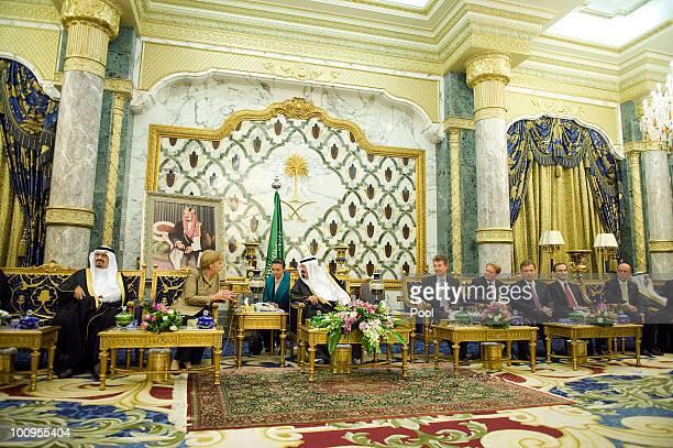 Saudi Arabian King Abdullah BinAbdalAziz Al Saud talks to German Chancellor Angela Merkel in the King's Palace on May 25 2010 in Djidda Saudi Arabia...