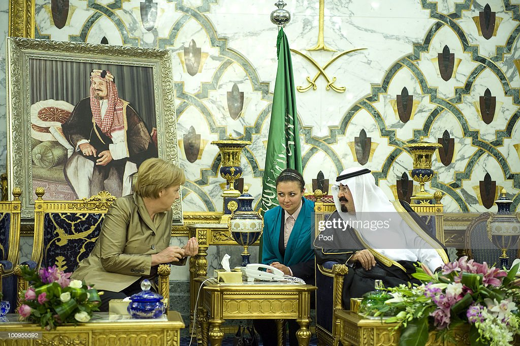 Saudi Arabian King Abdullah Bin-Abd-al-Aziz Al Saud talks to German Chancellor Angela Merkel in the King's Palace on May 25, 2010 in Djidda, Saudi Arabia. Merkel began her four-day tour of the Gulf region in the United Arab Emirates on May 24 to promote the Middle East peace process. Political talks in the United Arab Emirates, Bahrain, Qatar and Saudi Arabia will also be dominated by regional security issues and the nuclear standoff with Iran.