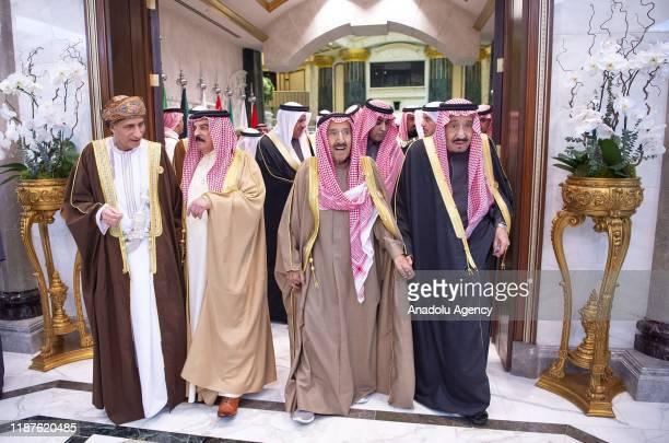 Saudi Arabian King Salman bin Abdulaziz al-Saud and Kuwaiti Emir Sheikh Jaber al-Ahmad al-Sabah arrive to attend the 40th Gulf Cooperation Council...