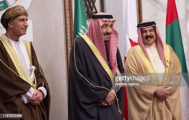 Saudi Arabian King Salman bin Abdulaziz al-Saud welcomes Bahrain King Hamed bin Isa Al Khalifa and Oman Deputy Prime Minister Fahd bin Mahmoud Al...